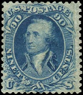 Values of US Stamp Scott Cat. # 72: 90c 1861 Washington. Regency-Superior, Aug 2015, Sale 112, Lot 171