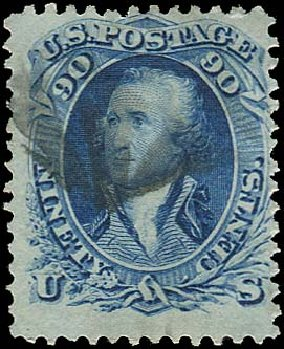 US Stamps Prices Scott Cat. 72: 90c 1861 Washington. Regency-Superior, Aug 2015, Sale 112, Lot 172