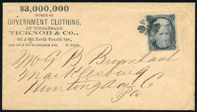 US Stamp Values Scott Catalog #73: 1861 2c Jackson. Schuyler J. Rumsey Philatelic Auctions, Apr 2015, Sale 60, Lot 1837