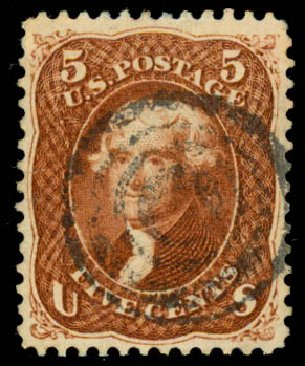 US Stamp Value Scott Cat. #75: 5c 1862 Jefferson. Daniel Kelleher Auctions, Aug 2015, Sale 672, Lot 2267