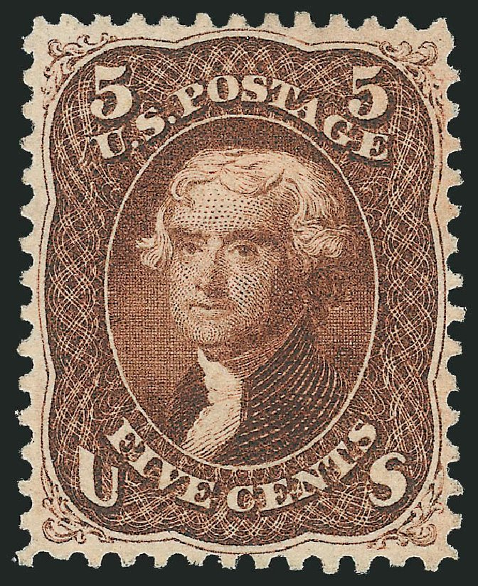 US Stamp Value Scott #75 - 5c 1862 Jefferson. Robert Siegel Auction Galleries, Dec 2014, Sale 1090, Lot 1209