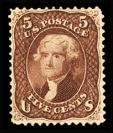 US Stamp Value Scott Catalogue # 75: 5c 1862 Jefferson. Cherrystone Auctions, Jan 2015, Sale 201501, Lot 120