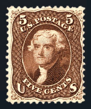 Values of US Stamp Scott Cat. #75 - 5c 1862 Jefferson. Harmer-Schau Auction Galleries, Aug 2015, Sale 106, Lot 1411