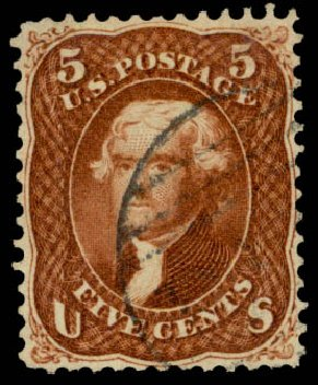 US Stamps Values Scott #75: 1862 5c Jefferson. Daniel Kelleher Auctions, May 2015, Sale 669, Lot 2521