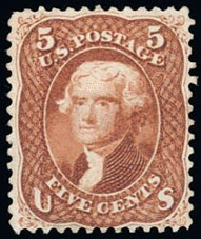 Values of US Stamps Scott Cat. # 75 - 1862 5c Jefferson. Schuyler J. Rumsey Philatelic Auctions, Apr 2015, Sale 60, Lot 2044