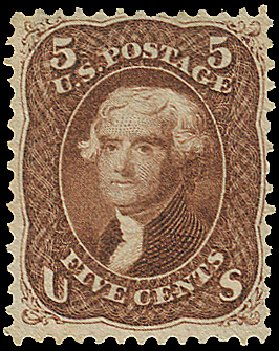 Value of US Stamps Scott Cat. # 75 - 5c 1862 Jefferson. Regency-Superior, Aug 2015, Sale 112, Lot 175