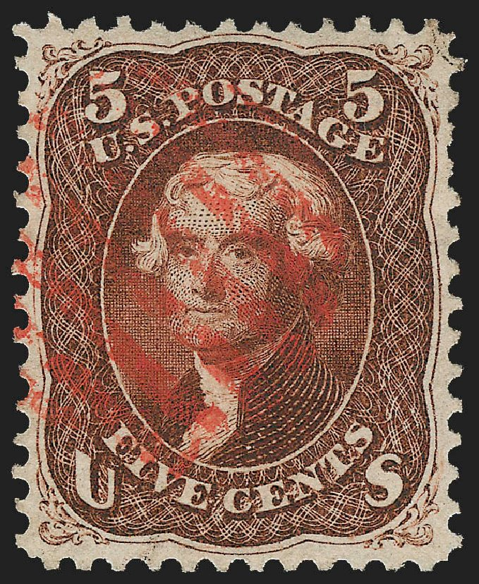 US Stamp Value Scott Catalogue # 75: 1862 5c Jefferson. Robert Siegel Auction Galleries, Jul 2015, Sale 1107, Lot 135