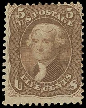 US Stamps Value Scott Catalogue 75 - 1862 5c Jefferson. H.R. Harmer, Oct 2014, Sale 3006, Lot 1112