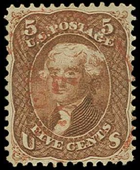 US Stamp Price Scott Catalogue # 75: 1862 5c Jefferson. H.R. Harmer, Jun 2015, Sale 3007, Lot 3142