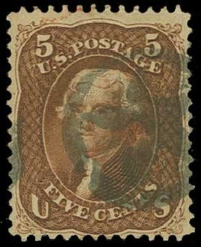 US Stamp Values Scott Cat. #75 - 5c 1862 Jefferson. H.R. Harmer, Jun 2015, Sale 3007, Lot 3143