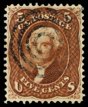 US Stamps Values Scott # 75 - 5c 1862 Jefferson. Daniel Kelleher Auctions, Dec 2014, Sale 661, Lot 93