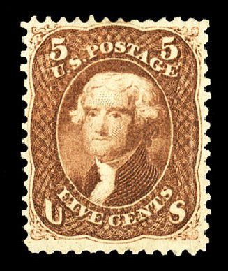 Values of US Stamp Scott Cat. # 75 - 1862 5c Jefferson. Cherrystone Auctions, Jul 2015, Sale 201507, Lot 2036