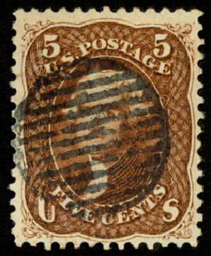 US Stamps Values Scott # 75 - 5c 1862 Jefferson. Daniel Kelleher Auctions, Aug 2015, Sale 672, Lot 2266