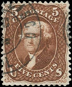 US Stamp Prices Scott Cat. #75: 1862 5c Jefferson. Regency-Superior, Aug 2015, Sale 112, Lot 176