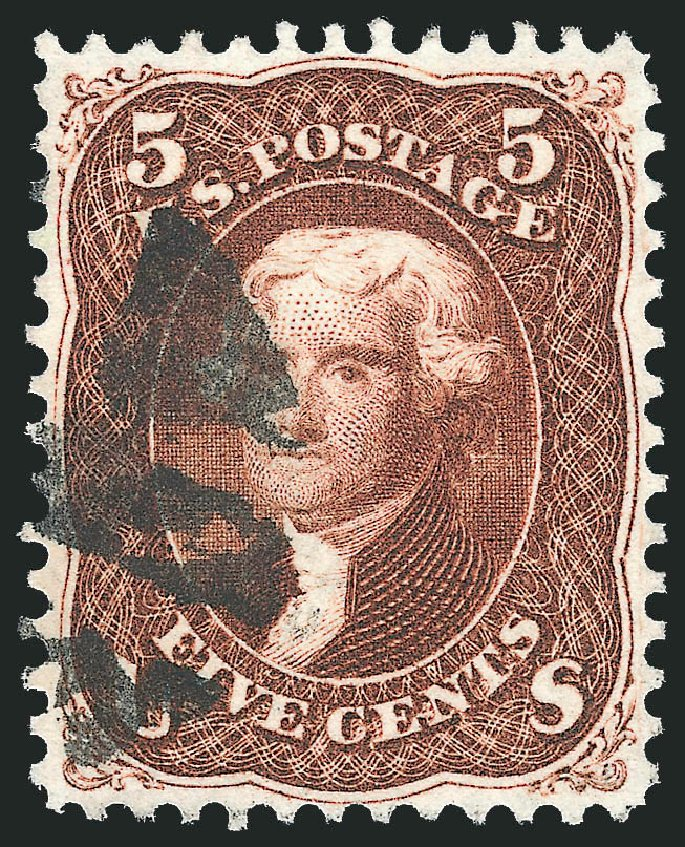 Costs of US Stamp Scott Catalog #75 - 1862 5c Jefferson. Robert Siegel Auction Galleries, Nov 2014, Sale 1084, Lot 3226