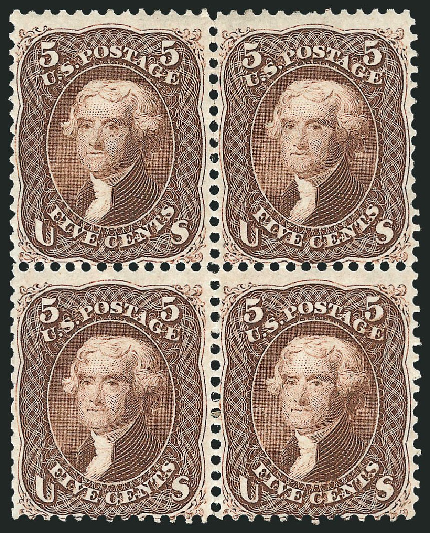 US Stamp Values Scott Catalog # 76 - 5c 1863 Jefferson. Robert Siegel Auction Galleries, Nov 2014, Sale 1084, Lot 3228
