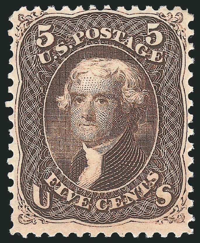 Costs of US Stamps Scott Catalog # 76 - 1863 5c Jefferson. Robert Siegel Auction Galleries, Dec 2014, Sale 1090, Lot 1210