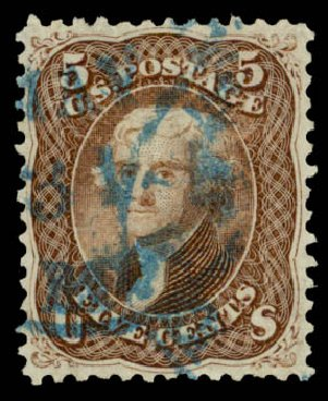 Cost of US Stamp Scott Catalog #76 - 1863 5c Jefferson. Daniel Kelleher Auctions, May 2015, Sale 669, Lot 2522