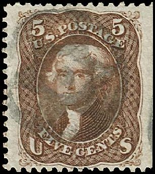 US Stamps Value Scott Catalogue #76 - 5c 1863 Jefferson. Regency-Superior, Jan 2015, Sale 109, Lot 672