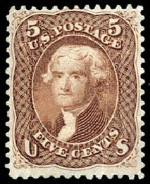 Values of US Stamps Scott Catalog #76 - 5c 1863 Jefferson. Schuyler J. Rumsey Philatelic Auctions, Apr 2015, Sale 60, Lot 2046