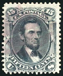 Cost of US Stamp Scott 77 - 1866 15c Lincoln. Schuyler J. Rumsey Philatelic Auctions, Apr 2015, Sale 60, Lot 2048