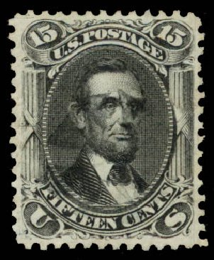US Stamp Prices Scott #77 - 15c 1866 Lincoln. Daniel Kelleher Auctions, Aug 2015, Sale 672, Lot 2269