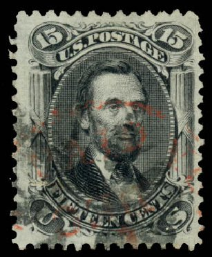 US Stamps Prices Scott 77: 15c 1866 Lincoln. Daniel Kelleher Auctions, Aug 2015, Sale 672, Lot 2270