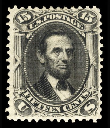 Cost of US Stamps Scott Cat. # 77 - 15c 1866 Lincoln. Cherrystone Auctions, Jan 2015, Sale 201501, Lot 121