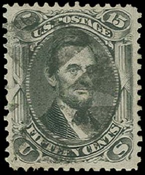 Us stamp values scott 77 1866 15c lincoln for Corner lots more valuable