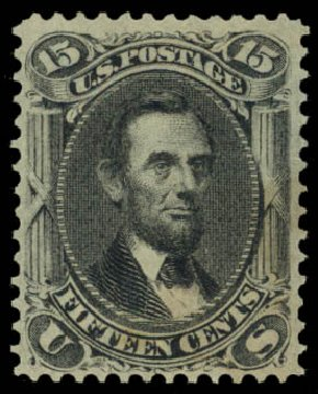 Value of US Stamp Scott Catalogue # 77 - 15c 1866 Lincoln. Daniel Kelleher Auctions, Jan 2015, Sale 663, Lot 1304