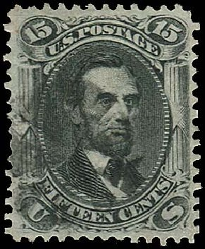 Cost of US Stamps Scott Cat. 77 - 15c 1866 Lincoln. Regency-Superior, Jan 2015, Sale 109, Lot 673