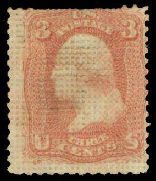 US Stamps Values Scott # 79 - 3c 1867 Washington Grill. Daniel Kelleher Auctions, Jan 2015, Sale 663, Lot 1308