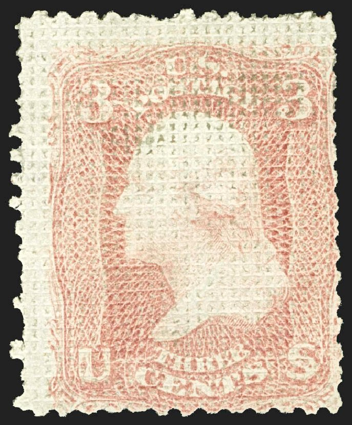US Stamps Price Scott Cat. 79 - 1867 3c Washington Grill. Robert Siegel Auction Galleries, Jul 2015, Sale 1107, Lot 184