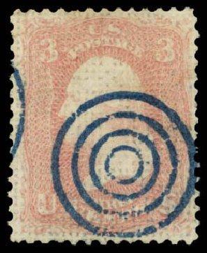 Price of US Stamps Scott Catalog 79 - 1867 3c Washington Grill. Daniel Kelleher Auctions, Dec 2014, Sale 661, Lot 95