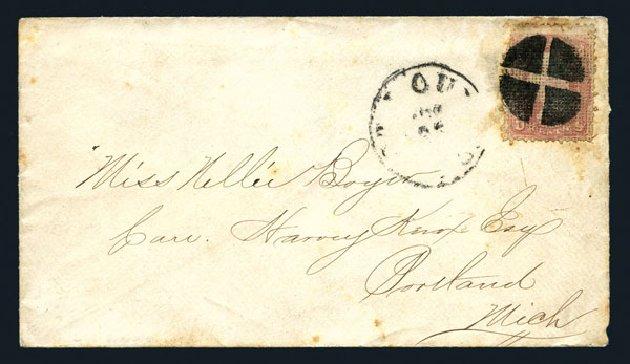 US Stamps Values Scott Catalogue #79: 3c 1867 Washington Grill. Harmer-Schau Auction Galleries, Aug 2015, Sale 106, Lot 1423