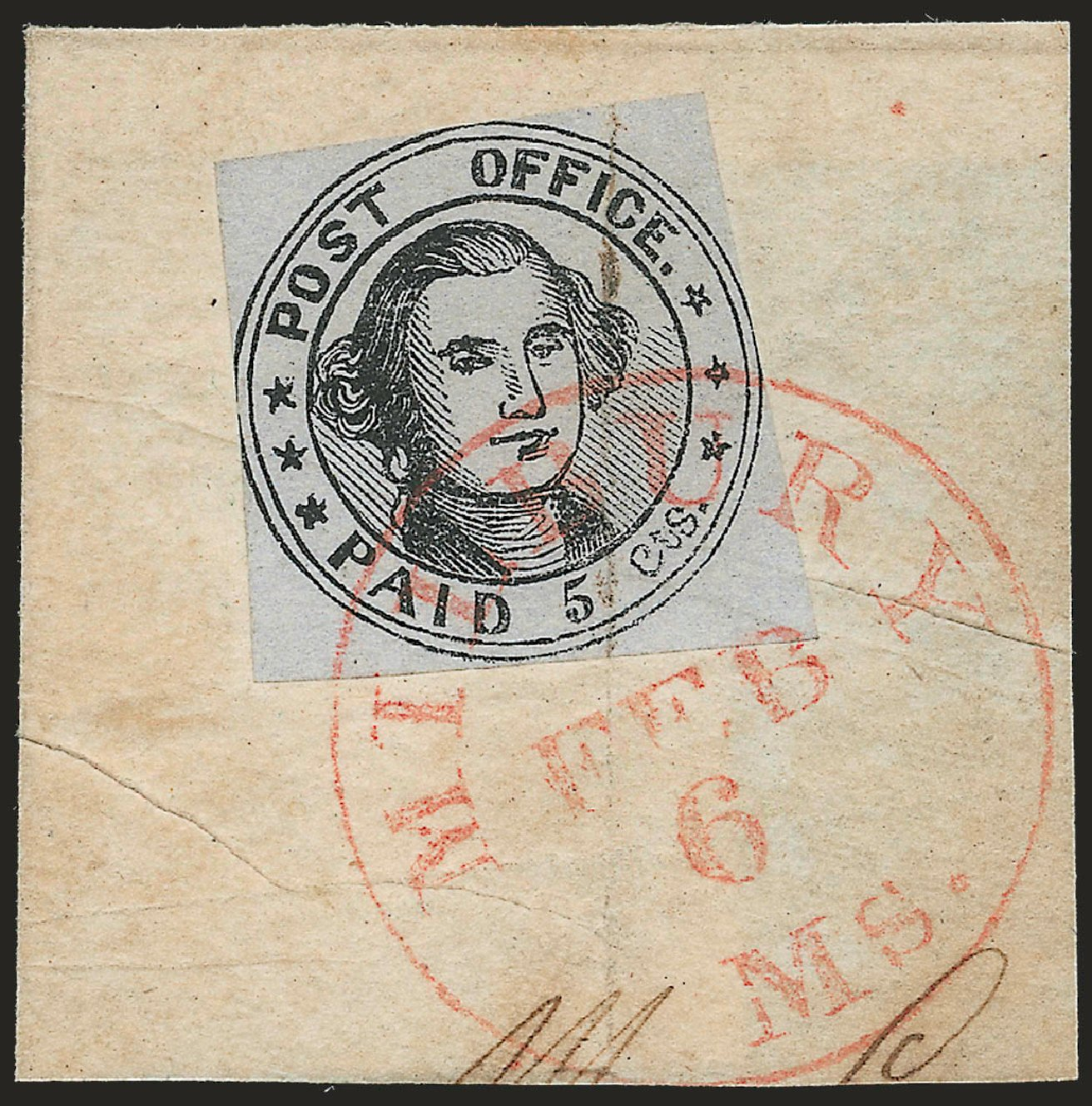 Values of US Stamp Scott Cat. # 7X1 - 1846 5c Millbury Postmasters Provisional. Robert Siegel Auction Galleries, Jun 2010, Sale 989, Lot 34