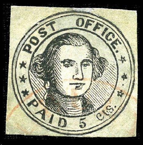 Cost of US Stamps Scott Cat. 7X1: 5c 1846 Millbury Postmasters Provisional. Matthew Bennett International, Feb 2012, Sale 340, Lot 6