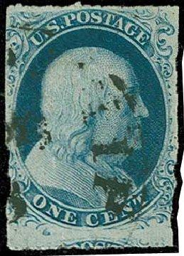 Value of US Stamps Scott Catalog #8: 1c 1857 Franklin. H.R. Harmer, Jun 2015, Sale 3007, Lot 3097