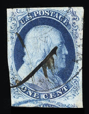 US Stamp Prices Scott #8: 1c 1857 Franklin. Cherrystone Auctions, Jul 2015, Sale 201507, Lot 8