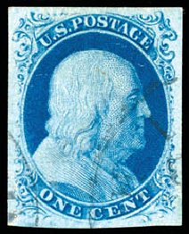 US Stamp Prices Scott Catalog #8: 1c 1857 Franklin. Schuyler J. Rumsey Philatelic Auctions, Apr 2015, Sale 60, Lot 1918