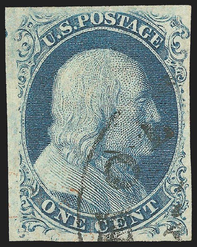 Cost of US Stamp Scott Catalog 8 - 1c 1857 Franklin. Robert Siegel Auction Galleries, Jul 2015, Sale 1107, Lot 58