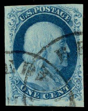 US Stamp Values Scott Cat. #8: 1857 1c Franklin. Daniel Kelleher Auctions, Aug 2015, Sale 672, Lot 2129