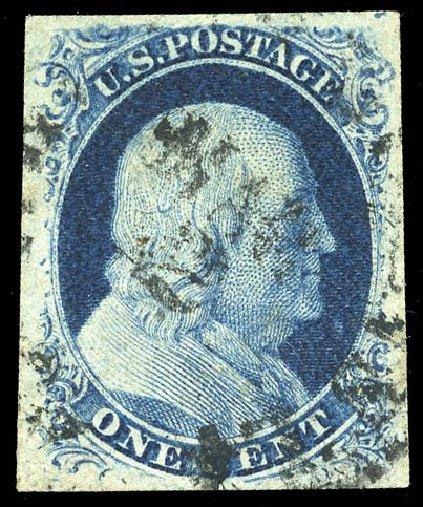 Values of US Stamp Scott Catalogue # 8: 1c 1857 Franklin. Matthew Bennett International, Feb 2015, Sale 351, Lot 25