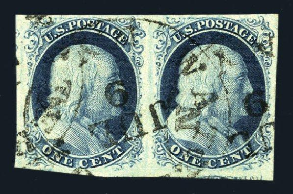US Stamps Values Scott Cat. #8 - 1c 1857 Franklin. Harmer-Schau Auction Galleries, Aug 2015, Sale 106, Lot 1275