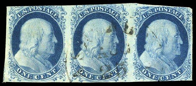 Prices of US Stamp Scott Cat. # 8 - 1857 1c Franklin. Matthew Bennett International, Feb 2015, Sale 351, Lot 26