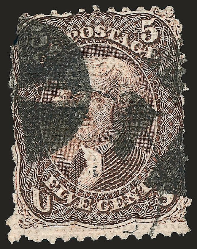 Value of US Stamp Scott Cat. #80: 1867 5c Jefferson Grill. Robert Siegel Auction Galleries, Oct 2008, Sale 963, Lot 556