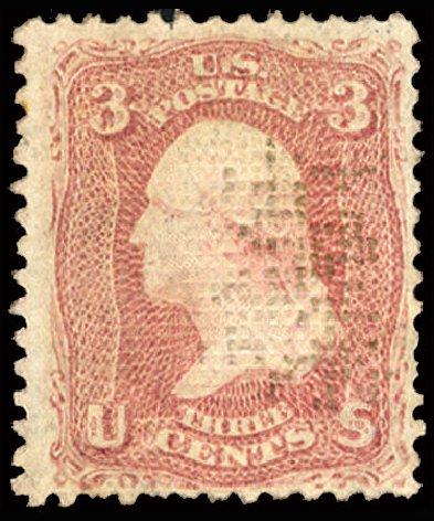 Price of US Stamps Scott 83 - 3c 1867 Washington Grill. Cherrystone Auctions, Jul 2015, Sale 201507, Lot 38