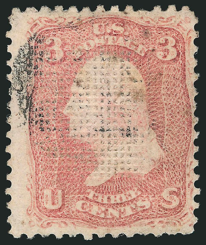US Stamps Values Scott Catalog 83: 3c 1867 Washington Grill. Robert Siegel Auction Galleries, Apr 2015, Sale 1096, Lot 158