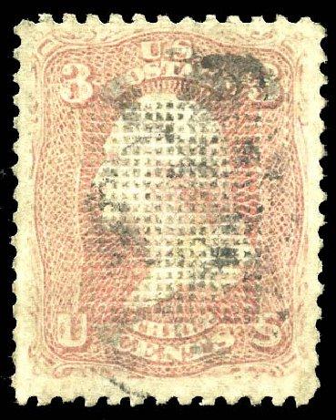 Costs of US Stamps Scott Cat. # 83: 1867 3c Washington Grill. Matthew Bennett International, Feb 2015, Sale 351, Lot 80