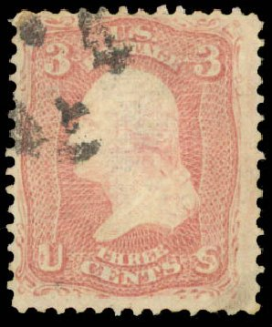 US Stamps Price Scott Catalog #83 - 1867 3c Washington Grill. Daniel Kelleher Auctions, Aug 2015, Sale 672, Lot 2273